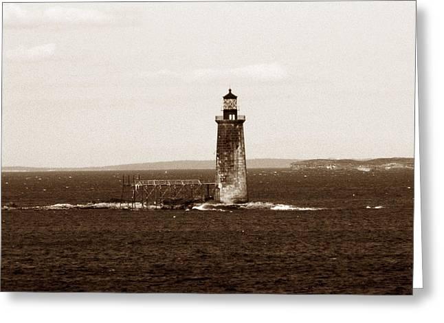 Ram Island Ledge Lighthouse Greeting Card by Skip Willits