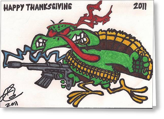 Greeting Card featuring the drawing Rambo Turkey by Jeremiah Colley