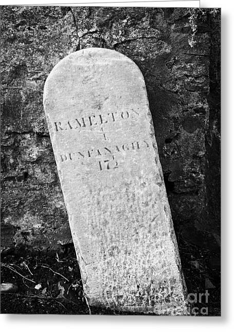 Ramelton Dunfanaghy Old Country Milestone Showing Distance In Irish Miles County Donegal Greeting Card by Joe Fox