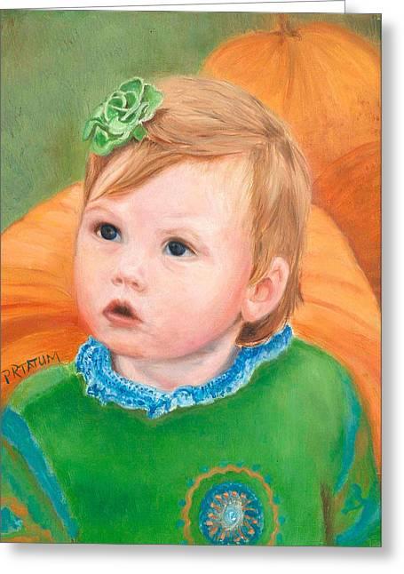 Ramey Kate In The Pumpkin Patch Greeting Card by Pamela Ramey Tatum