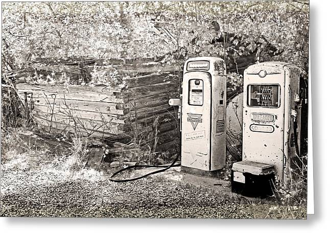 Ranch Gas Pumps Greeting Card by Lenore Senior and Dawn Senior-Trask
