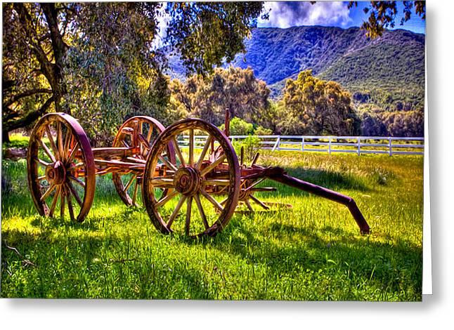 Rancho Oso Wagon Greeting Card by Bob and Nadine Johnston