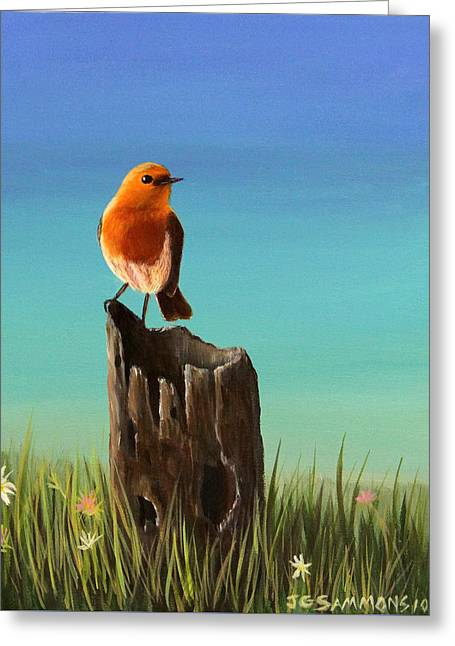 Greeting Card featuring the painting Randy The Robin by Janet Greer Sammons