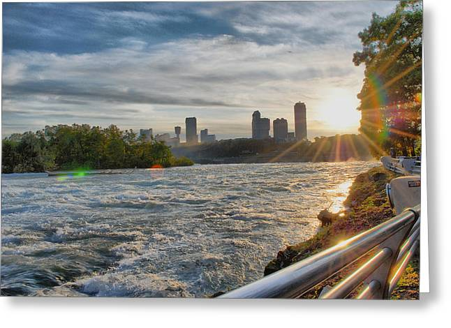 Greeting Card featuring the photograph Rapids Sunset by Michael Frank Jr