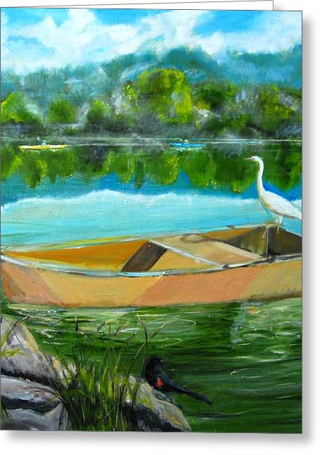 Rare Moment At Spring Lake Greeting Card by Terrence  Howell