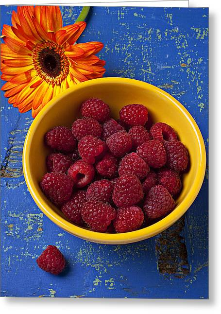 Raspberries In Yellow Bowl Greeting Card by Garry Gay