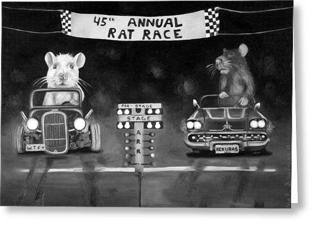 Rat Race Black And Wht Darker Tones Greeting Card by Leah Saulnier The Painting Maniac
