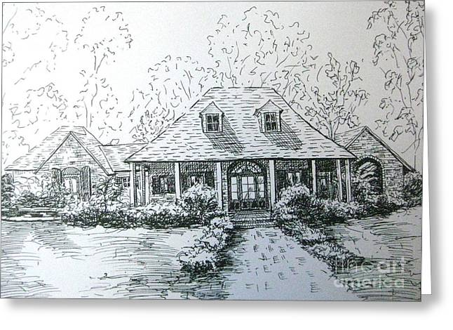 Greeting Card featuring the drawing Rathe's Home by Gretchen Allen