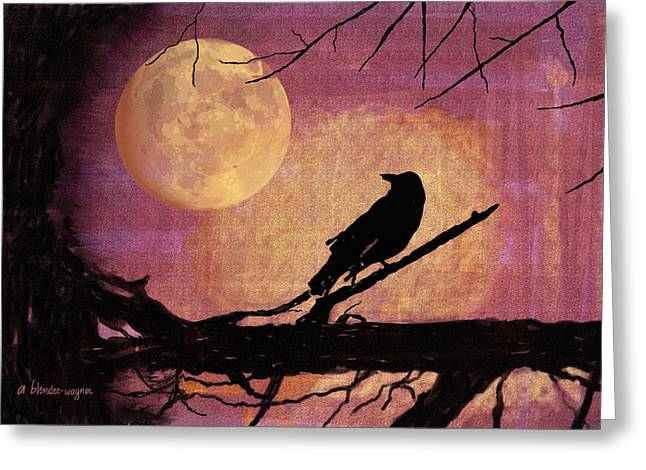 Raven And The October Moon Greeting Card by Arline Wagner