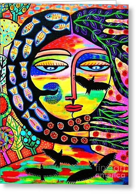 Raven Goddess Greeting Card by Sandra Silberzweig