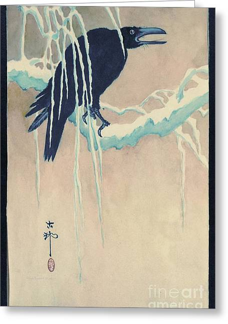 Raven In Snow Greeting Card by Padre Art