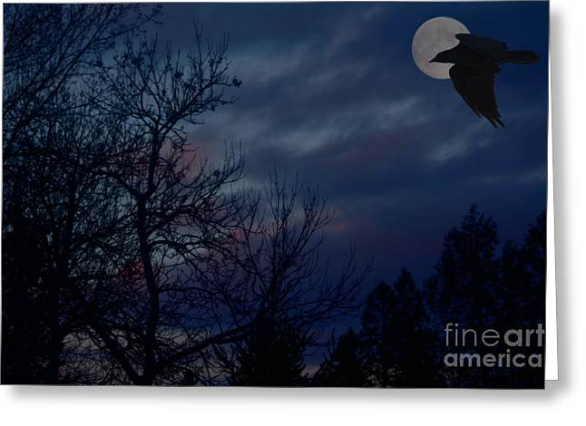 Raven In The Full Moon Abstract Greeting Card by Marjorie Imbeau