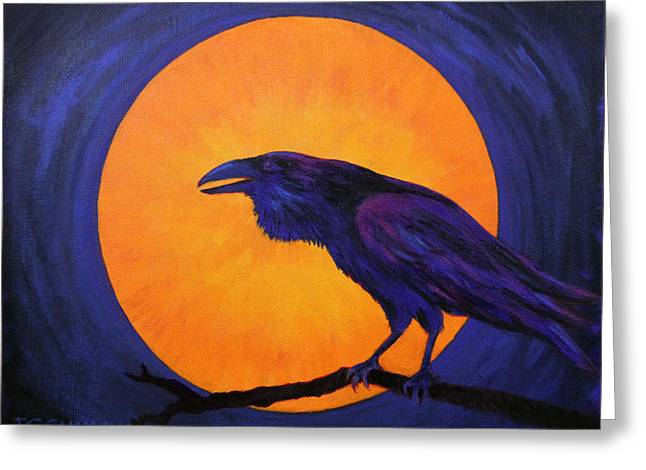 Greeting Card featuring the painting Raven Moon by Janet Greer Sammons