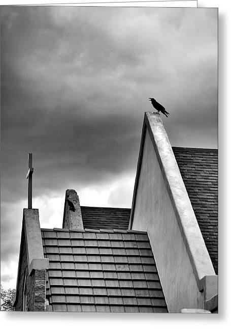 Raven On Church Greeting Card by James Bethanis