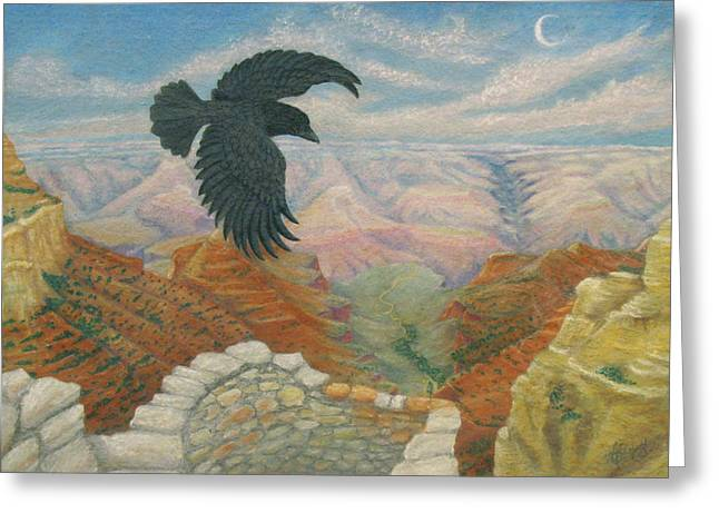 Raven Over The South Rim  Greeting Card by Marcia  Perry