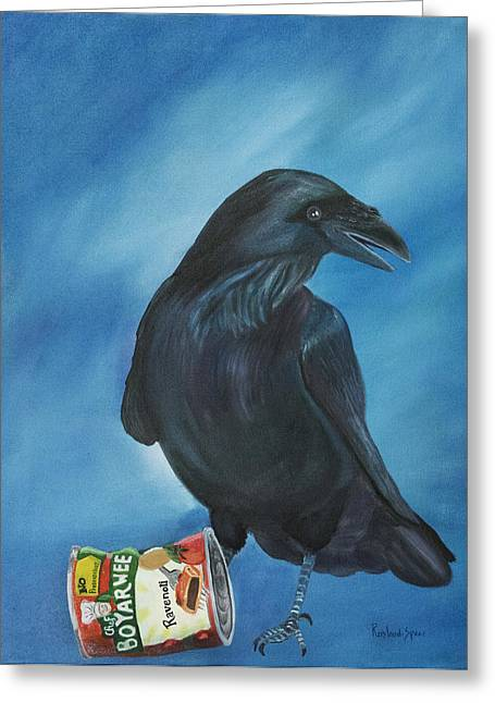 Ravenoli Greeting Card by Amy Reisland-Speer
