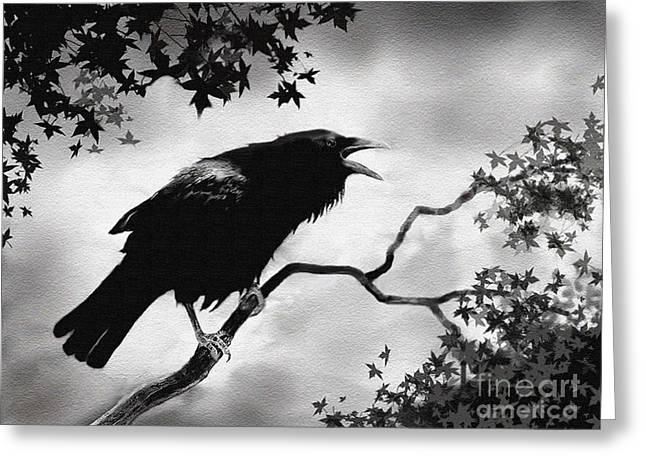Raven's Song Greeting Card by Robert Foster