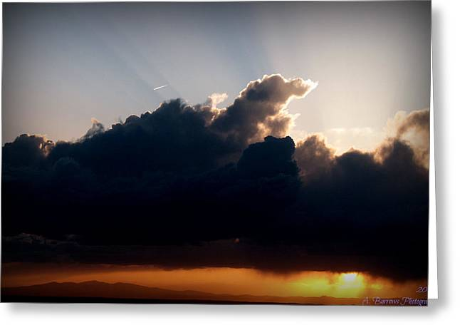 Rays Of Light Over Mount Taylor Greeting Card by Aaron Burrows