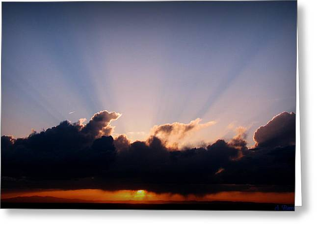 Rays Of Light Through The Storm Greeting Card by Aaron Burrows