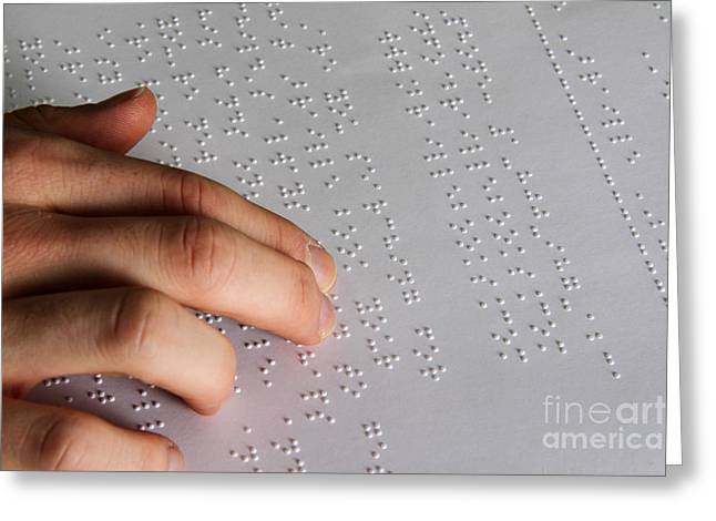 Reading Braille Greeting Card by Photo Researchers, Inc.