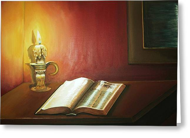 Reading By Candlelight Greeting Card