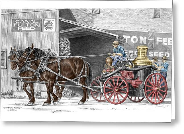Ready And Waiting - Canal Fulton Ohio Fire Engine Print Greeting Card