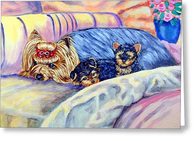 Ready For Bed - Yorkshire Terrier Greeting Card by Lyn Cook