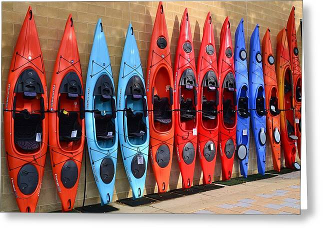 Greeting Card featuring the photograph Ready Kayaks by Mary Zeman