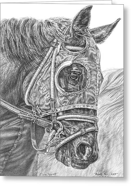 Ready Set Go - Race Horse Portrait Print Greeting Card