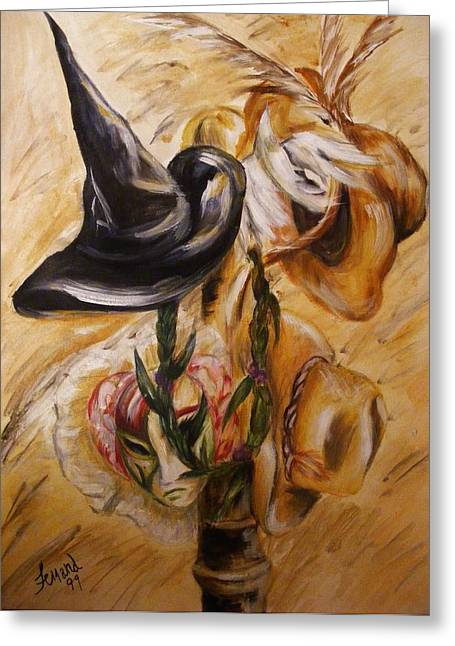 Greeting Card featuring the painting Real Women Wear Many Hats by Karen  Ferrand Carroll