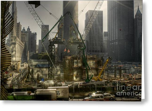 Rebuilding From Ground Zero In New York City Greeting Card by Marlene Ford