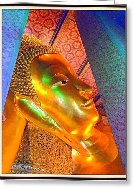 Reclining Buddha Greeting Card by Satya Winkelman