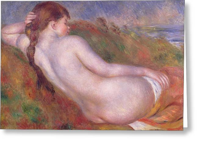 Reclining Nude In A Landscape Greeting Card by Pierre Auguste Renoir