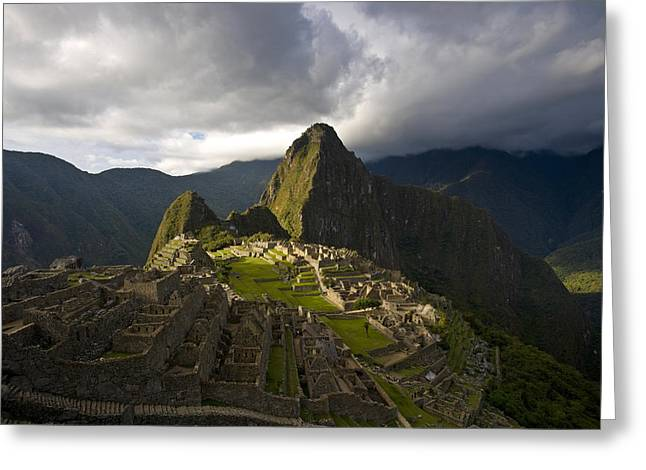 Reconstructed Stone Buildings On Machu Greeting Card by Michael Melford