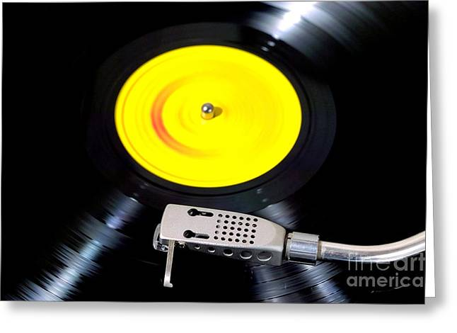 Record Player Looking Down Greeting Card