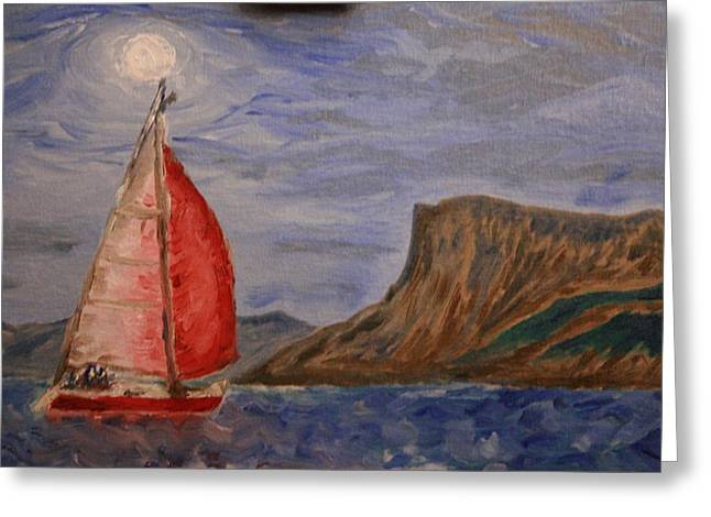 Red Alert At Fairhead By Moonlight Greeting Card by Paul Morgan