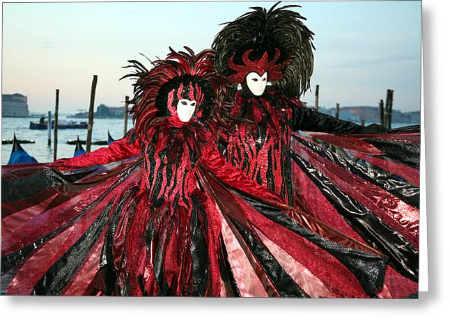 Red And Black Winged Couple At Sunrise Greeting Card by Donna Corless