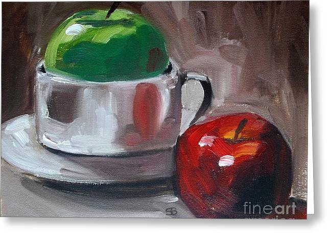 Red And Green Apples Greeting Card by Samantha Black