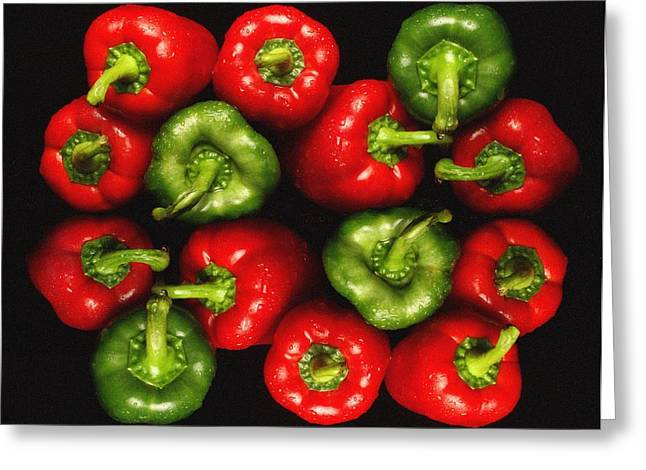 Red And Green Peppers Greeting Card by Victor De Schwanberg