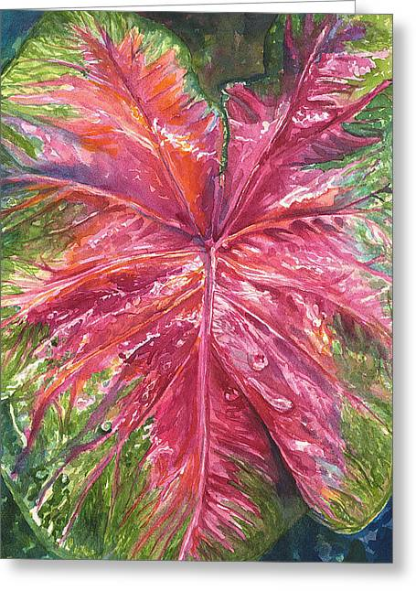 Red And Wet Greeting Card by AnnaJo Vahle