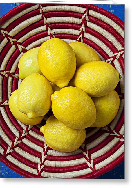 Red And White Basket Full Of Lemons Greeting Card