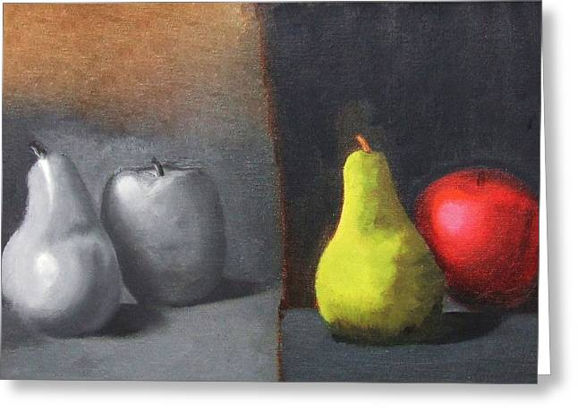Red Apple Pears And Pepper In Color And Monochrome Black White Oil Food Kitchen Restaurant Chef Art Greeting Card