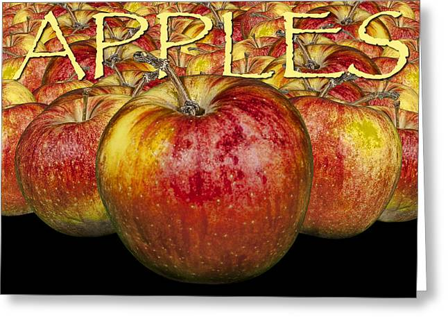 Food Poster Greeting Cards - Red Apples with Yellow Lettering Greeting Card by Randall Nyhof