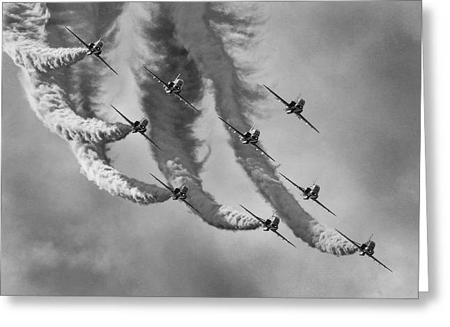 Red Arrows Black And White Greeting Card by Ken Brannen