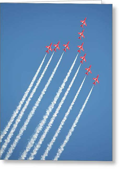Red Arrows In Action Greeting Card by Paul Cowan