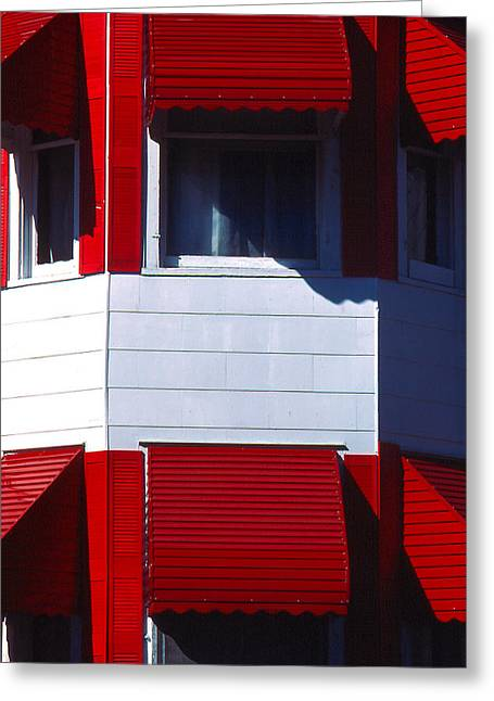 Red Awnings Greeting Card by Alfred Dominic Ligammari II