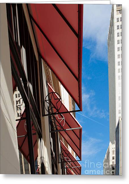 Greeting Card featuring the photograph Red Awnings by Lawrence Burry