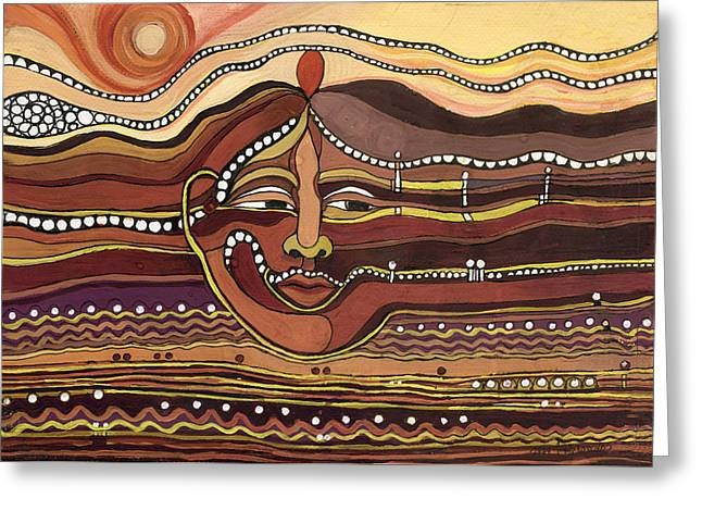 Red Aztec Face In Nature Landscape Abstract Fantasy With Earth Colors Sunset And Skyline Greeting Card