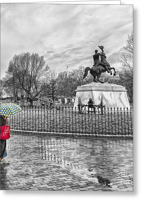 Greeting Card featuring the photograph Red Bag Lafayette Park by Jim Moore