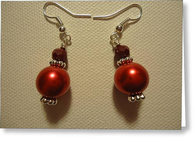 Red Ball Drop Earrings Greeting Card